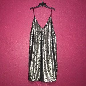 meshki silver/black sequin dress
